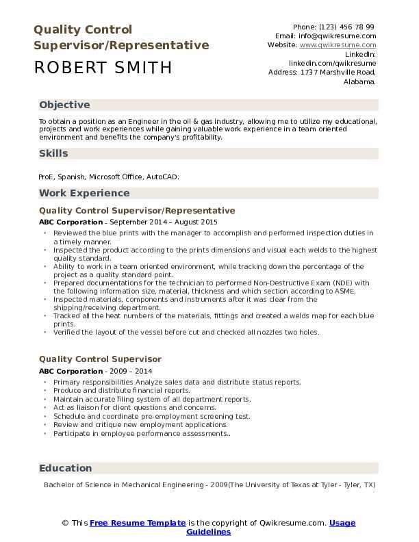 Quality Control Supervisor/Representative Resume Example