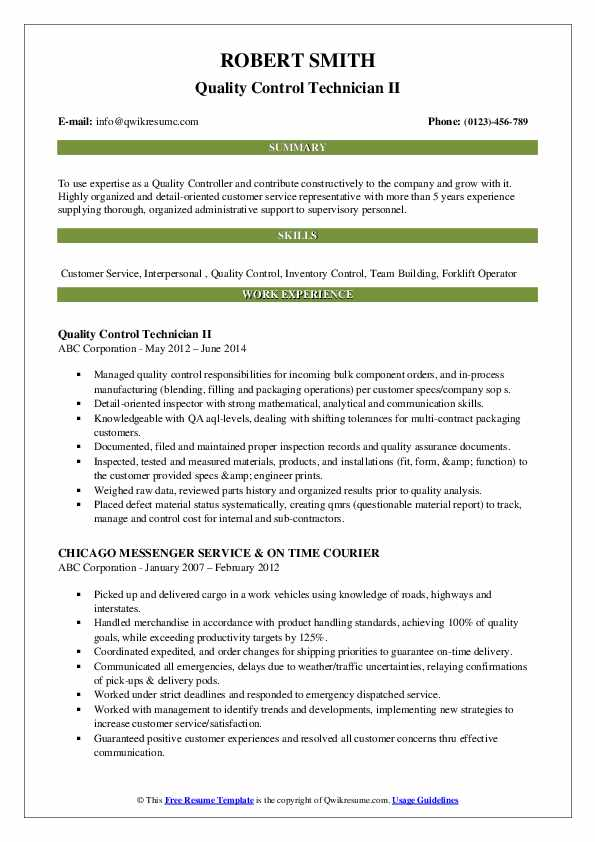 Quality Control Technician II Resume Sample