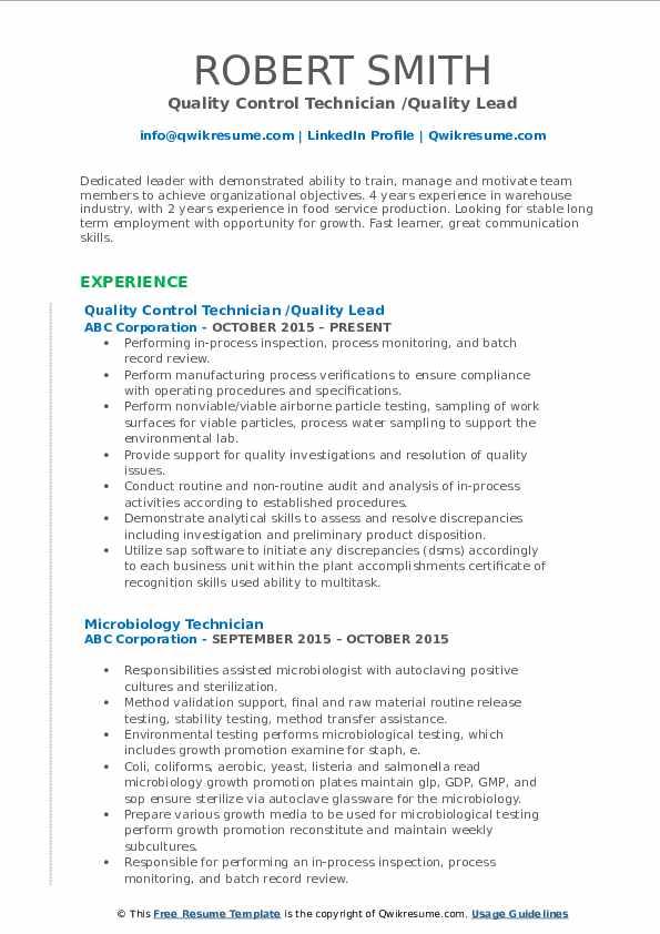 Quality Control Technician /Quality Lead Resume Sample