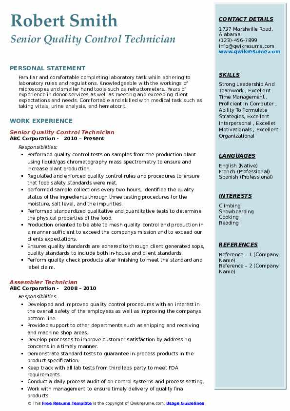 Senior Quality Control Technician Resume Format
