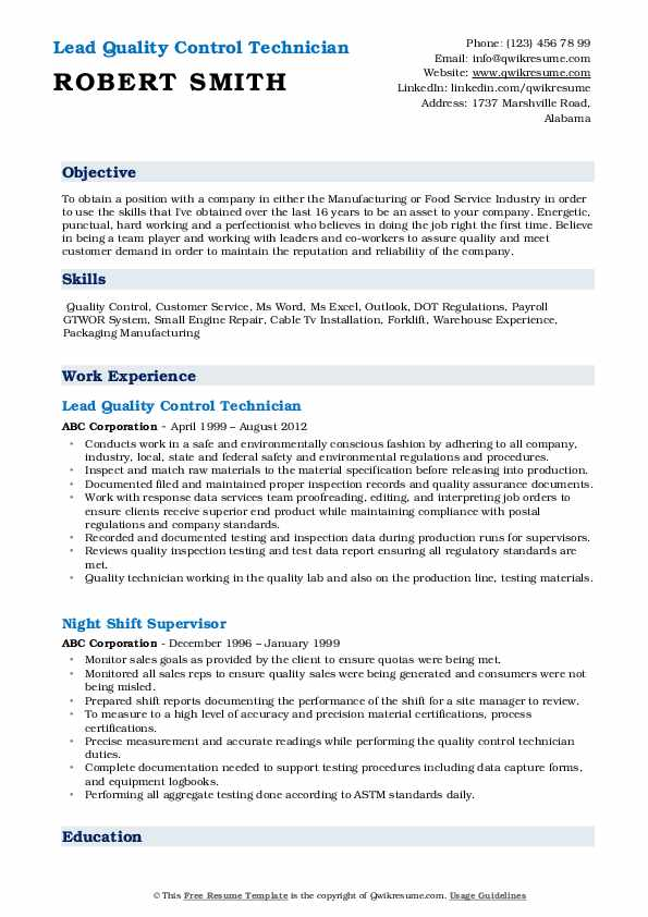 Lead Quality Control Technician Resume Example