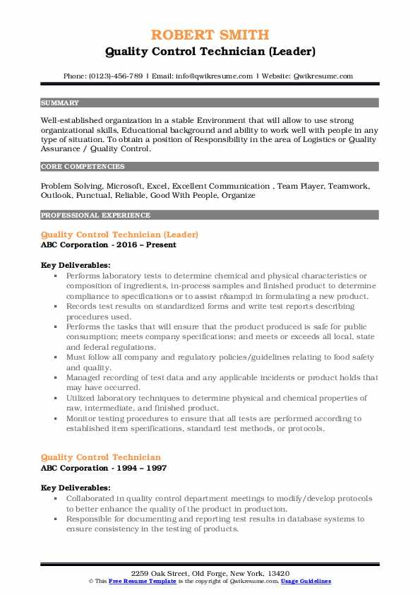 Quality Control Technician (Leader) Resume Format