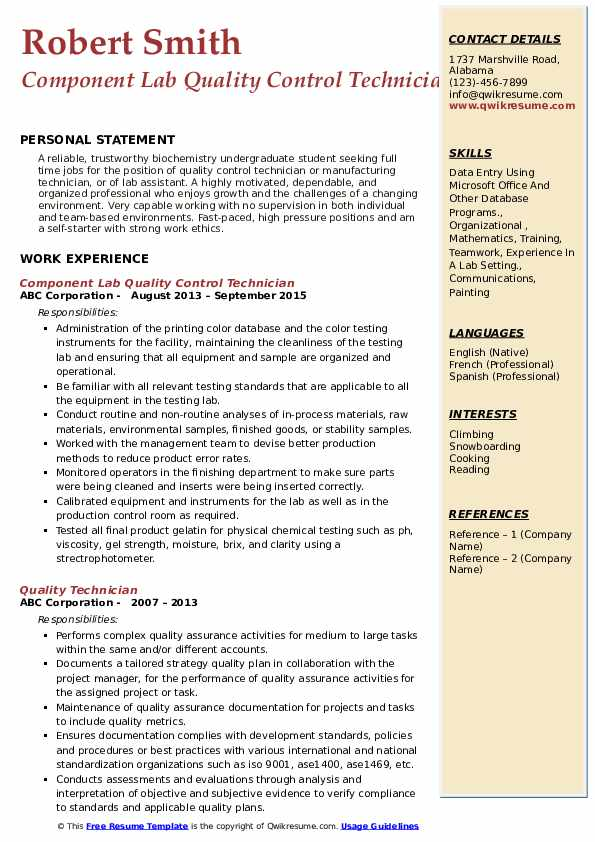 Component Lab Quality Control Technician Resume Template
