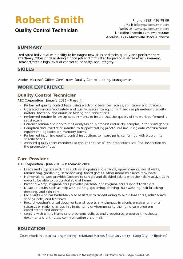 Quality Control Technician Resume example
