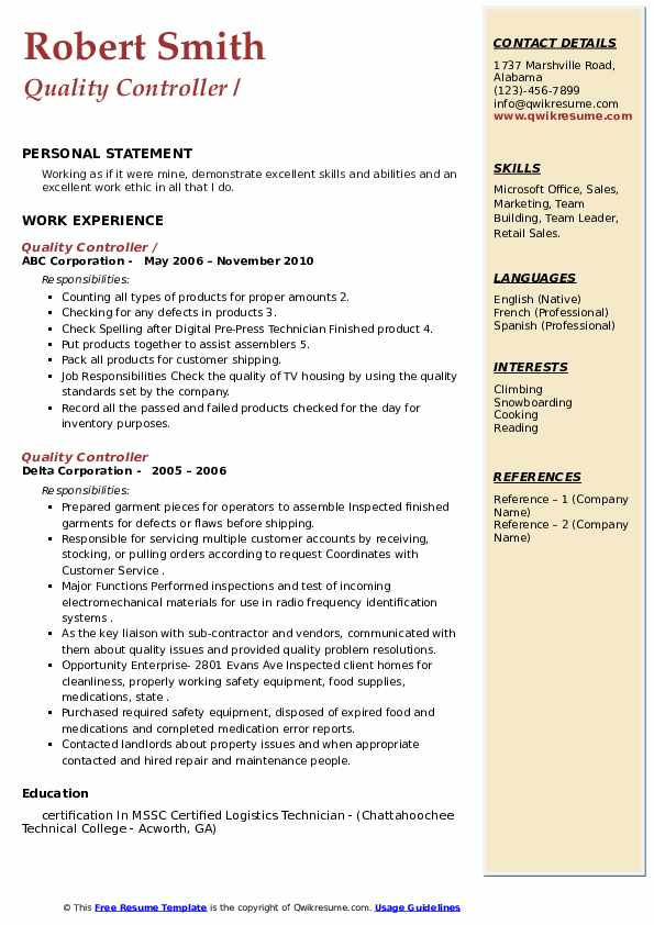 Quality Controller Resume example