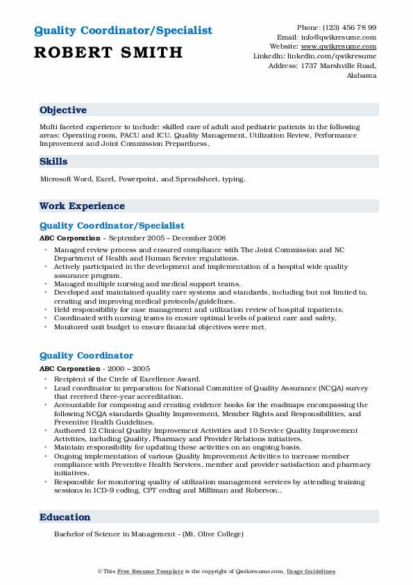 Quality Coordinator/Specialist Resume Sample