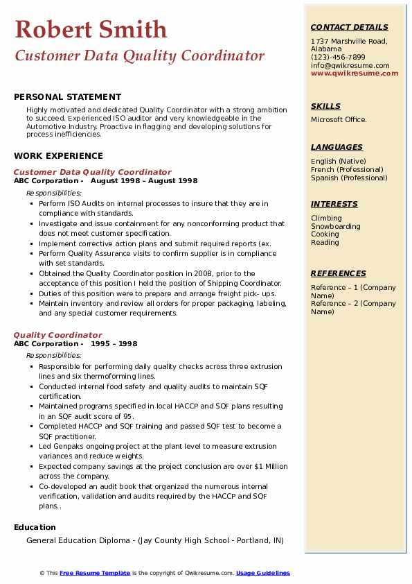 Customer Data Quality Coordinator Resume Template