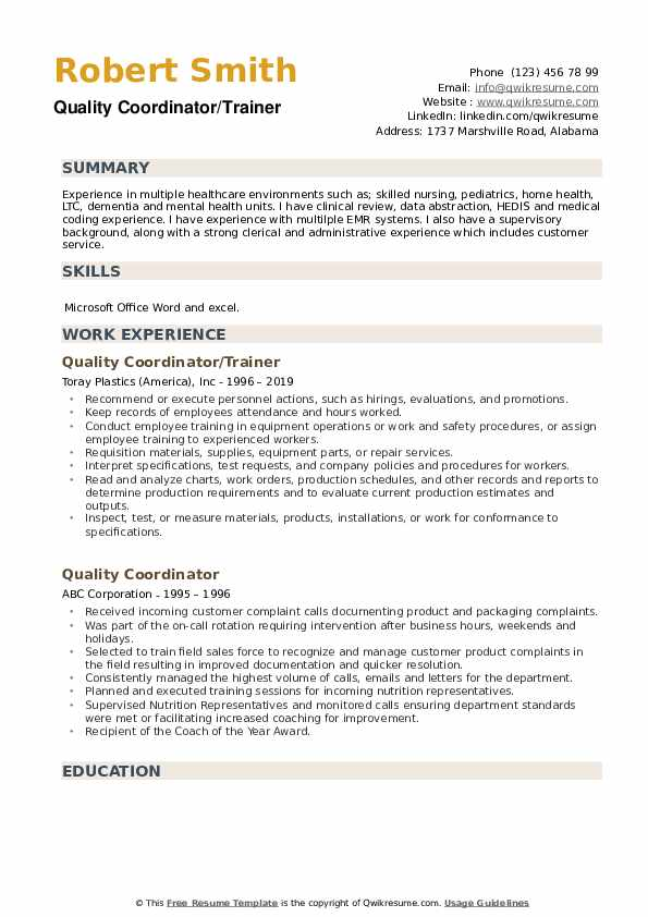 Quality Coordinator/Trainer Resume Template