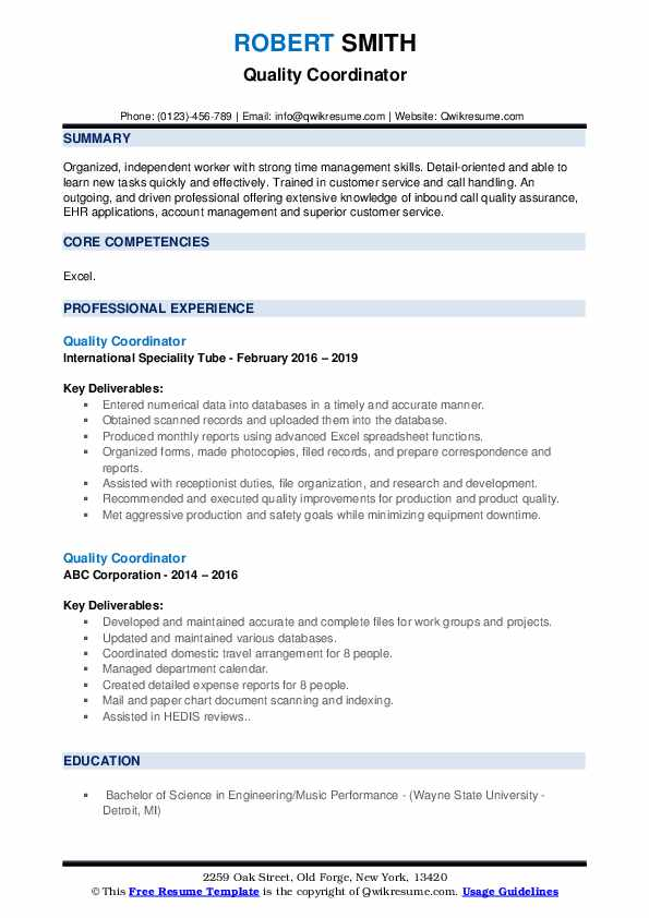 Quality Coordinator Resume example