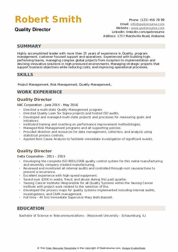 Quality Director Resume example