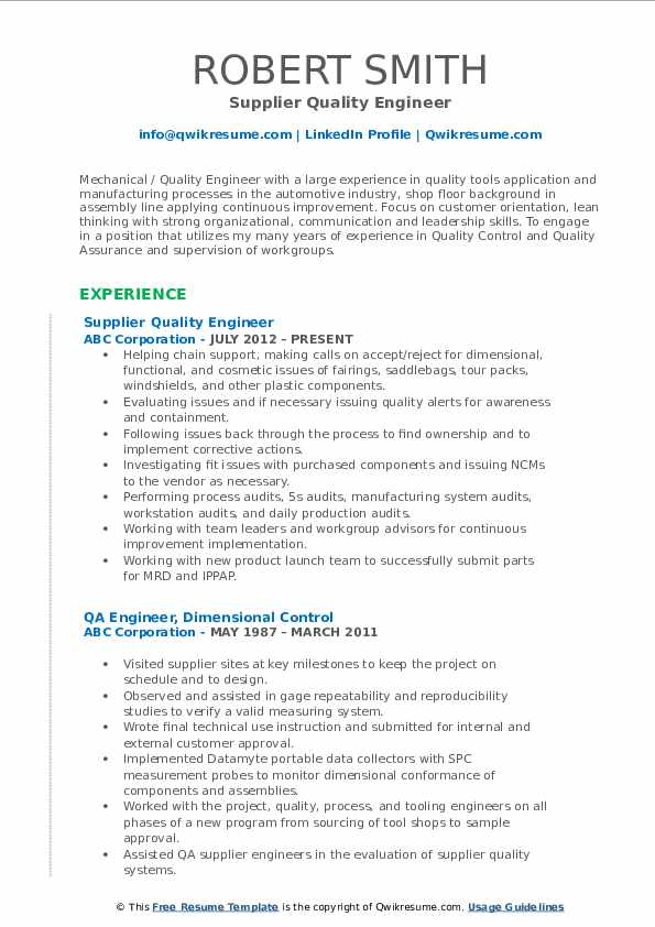 Quality Engineer Resume Samples Qwikresume