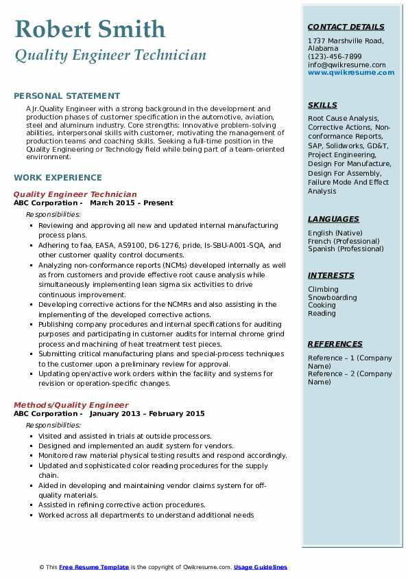quality-engineer-1561117343-pdf Resume Format For Coaching on accomplishments examples, example couselng, helping edit, career objective examples for, line supervisor, objective for head, duties for, words for, good skills have, examples personal corporate,