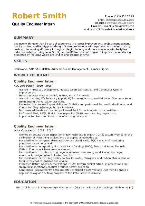Quality Engineer Intern Resume example