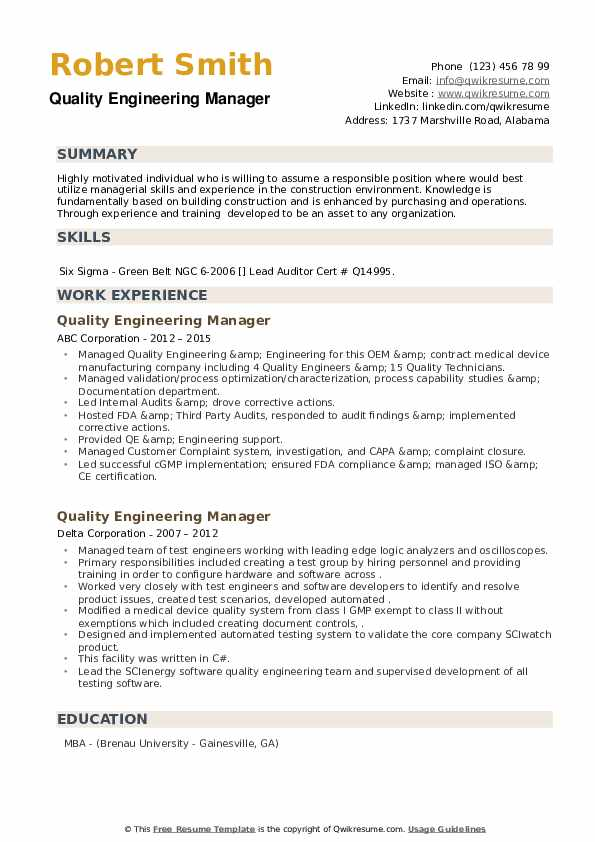 Quality Engineering Manager Resume example