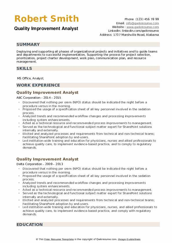 Quality Improvement Analyst Resume example