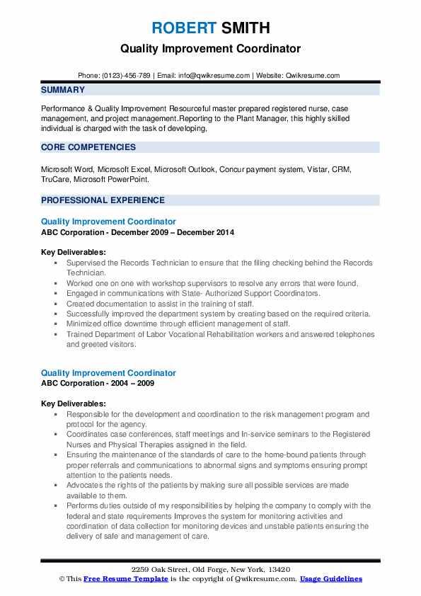 Quality Improvement Coordinator Resume example