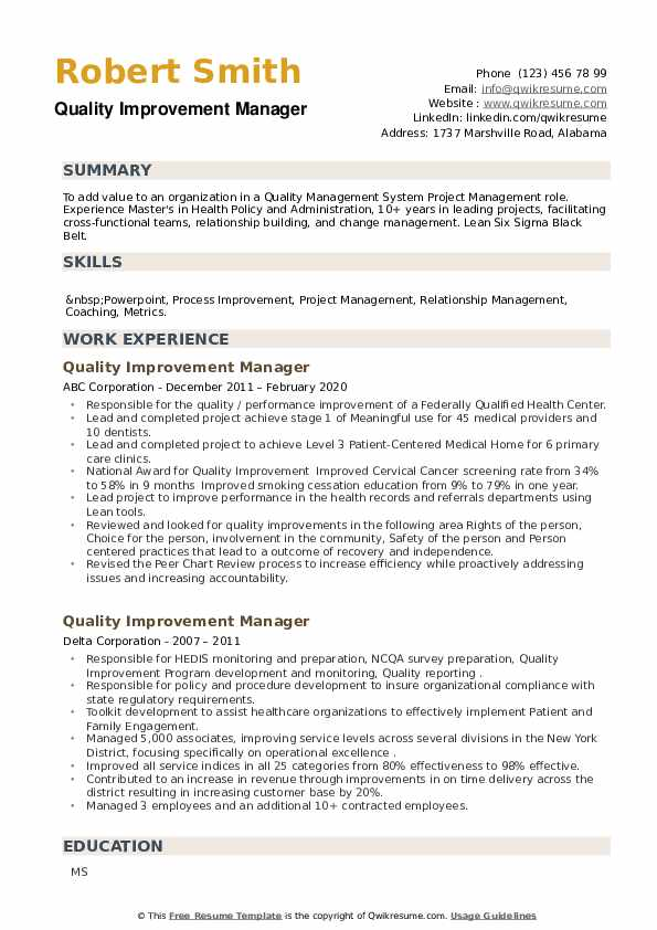 Quality Improvement Manager Resume example
