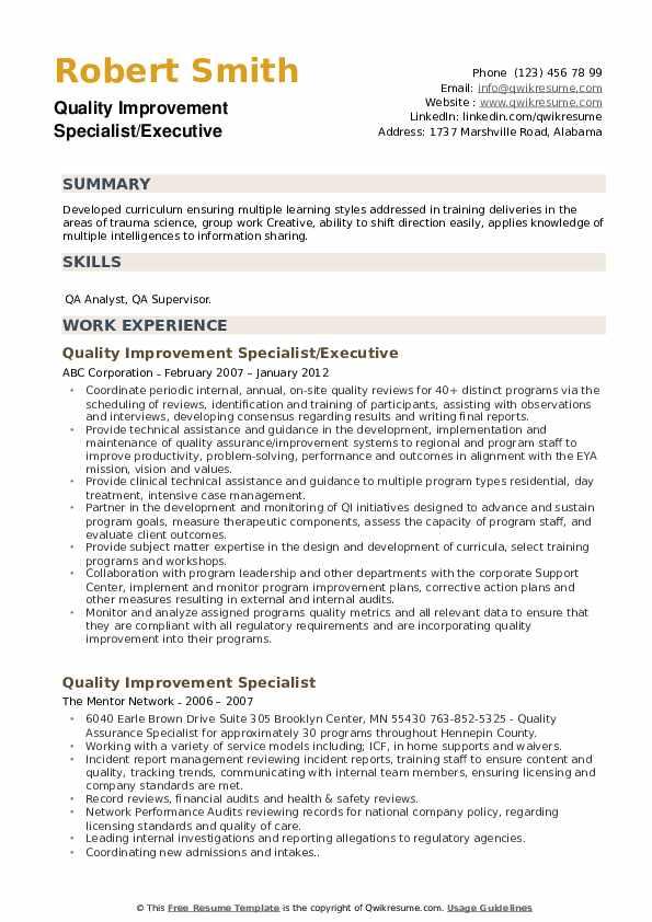 Quality Improvement Specialist Resume example