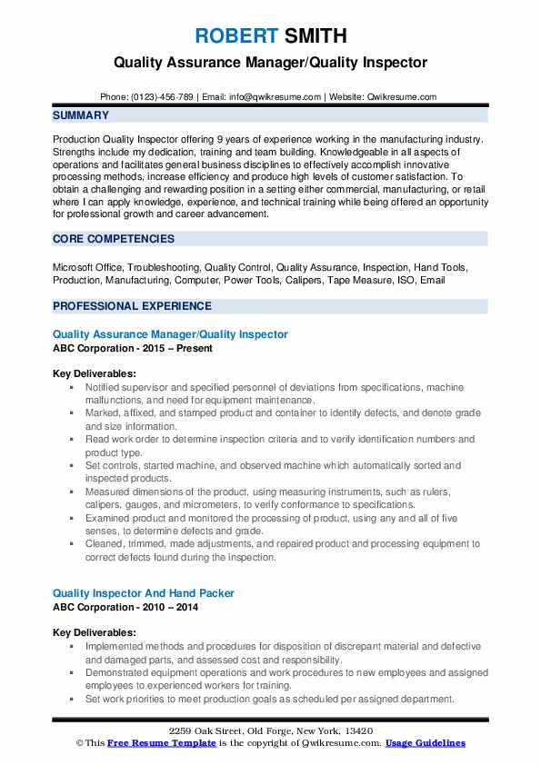 Quality Assurance Manager/Quality Inspector Resume Sample
