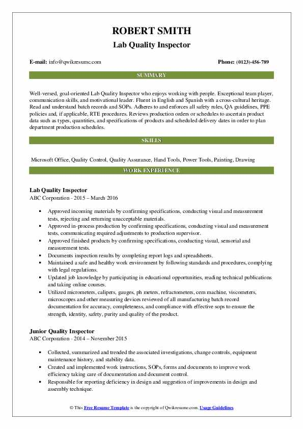 Lab Quality Inspector Resume Sample
