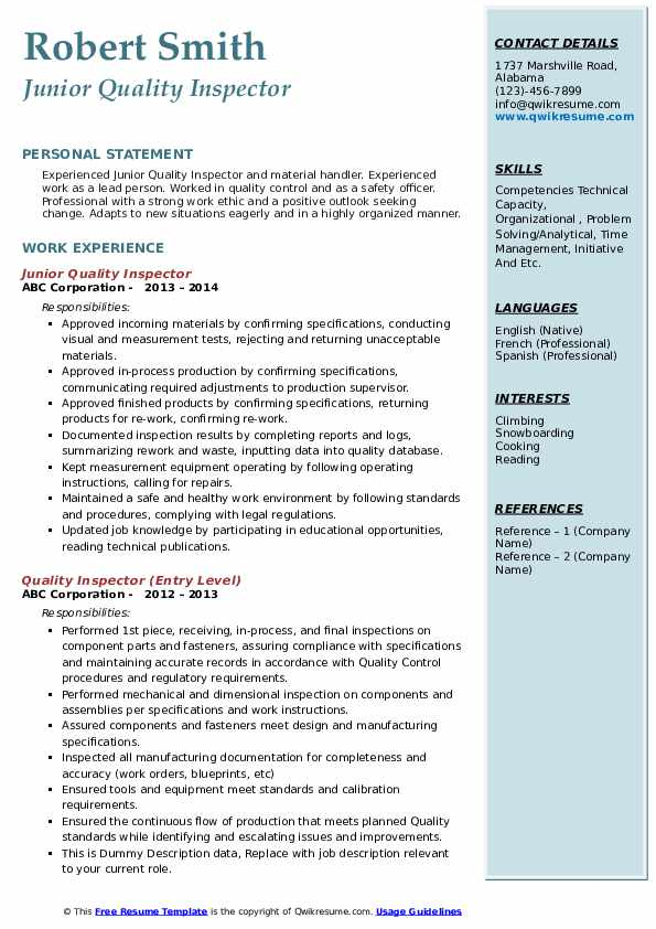 Junior Quality Inspector Resume Template