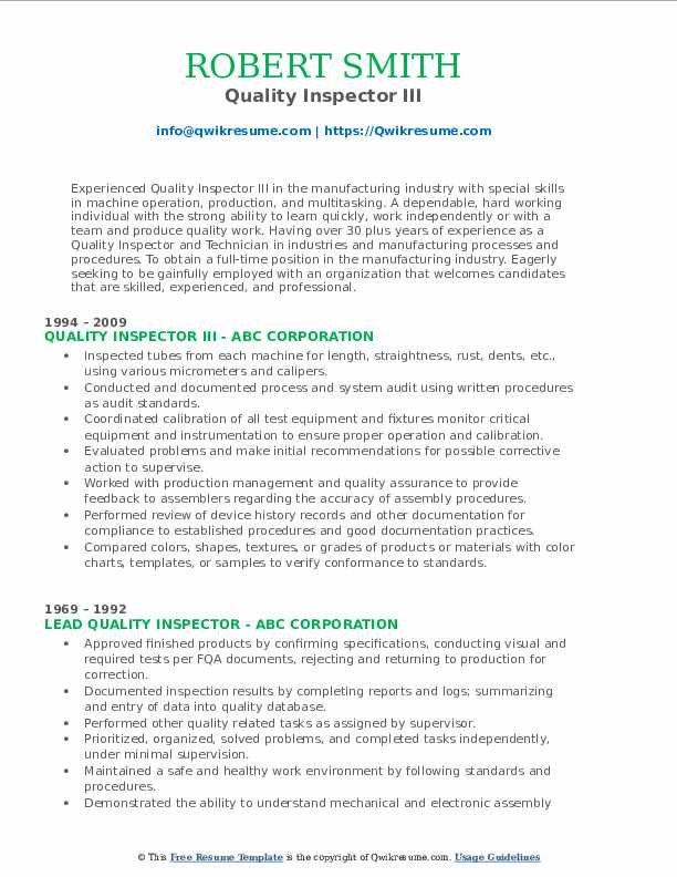Quality Inspector III Resume Format