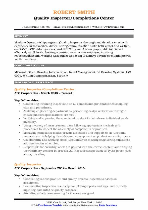 Quality Inspector/Completions Center Resume Example