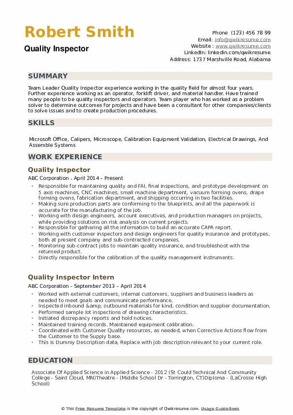 quality inspector resume samples