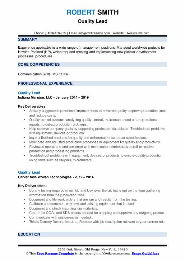 Quality Lead Resume example