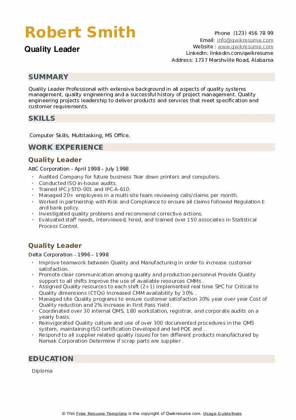 Quality Leader Resume example