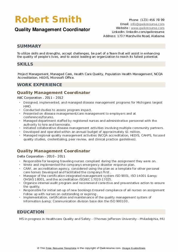 Quality Management Coordinator Resume example