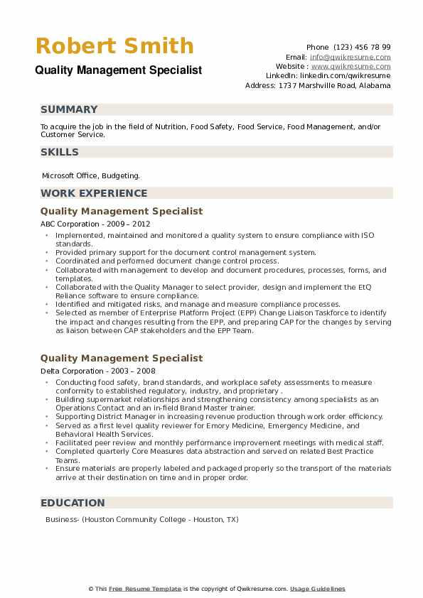 Quality Management Specialist Resume example