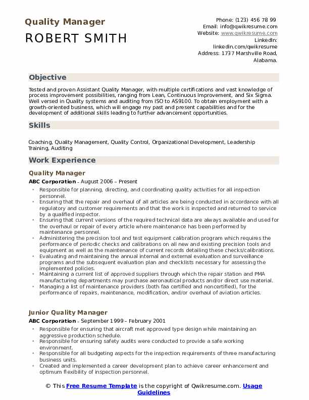 Quality Manager Resume Samples Qwikresume