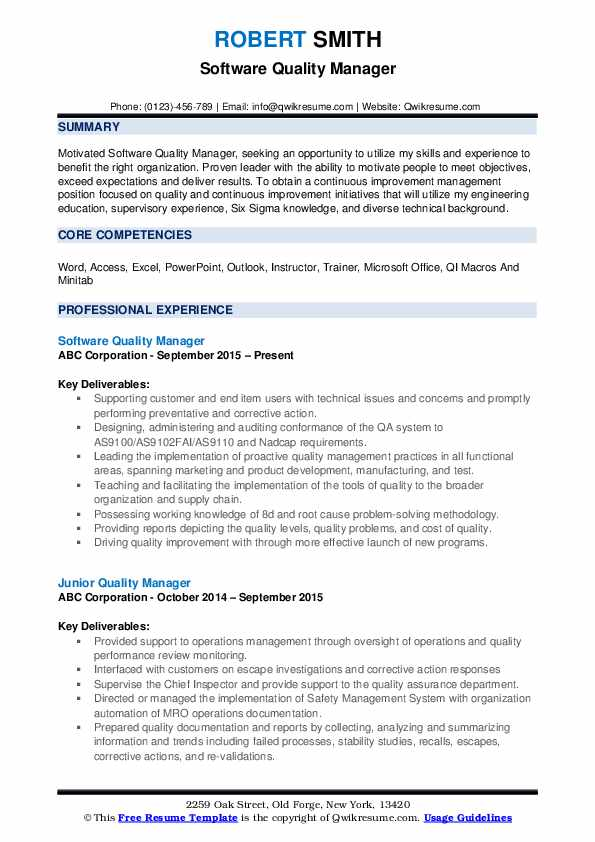 Software Quality Manager Resume Format