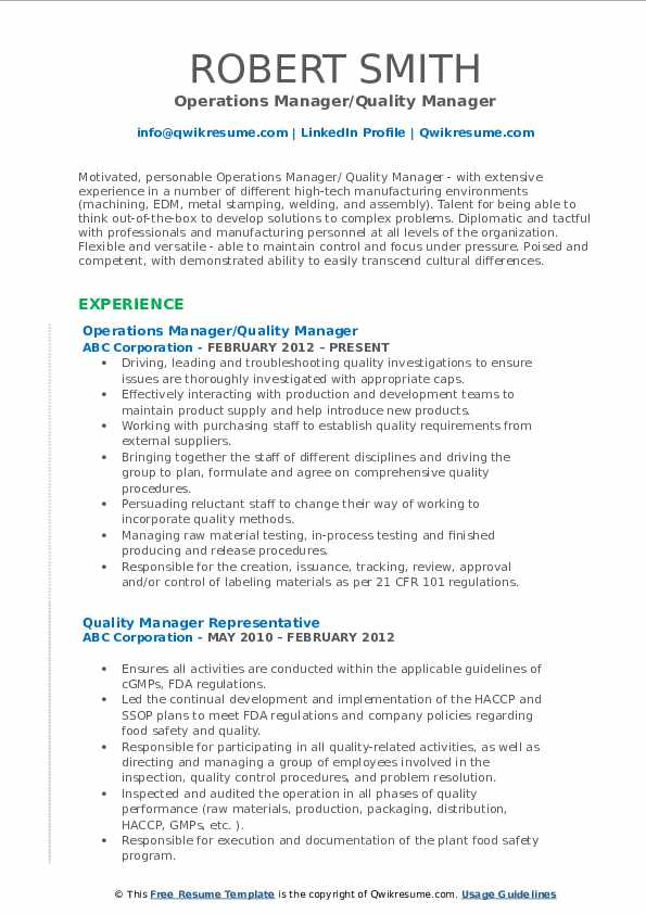 Operations Manager/Quality Manager Resume Format