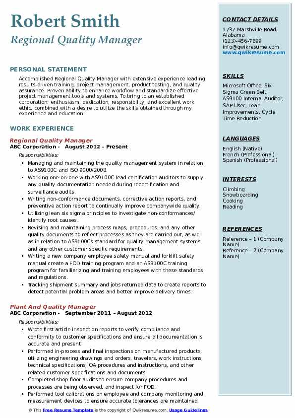 Regional Quality Manager Resume Sample