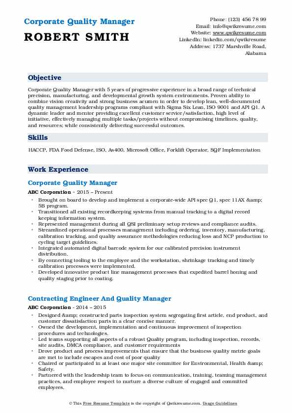 Corporate Quality Manager Resume Format