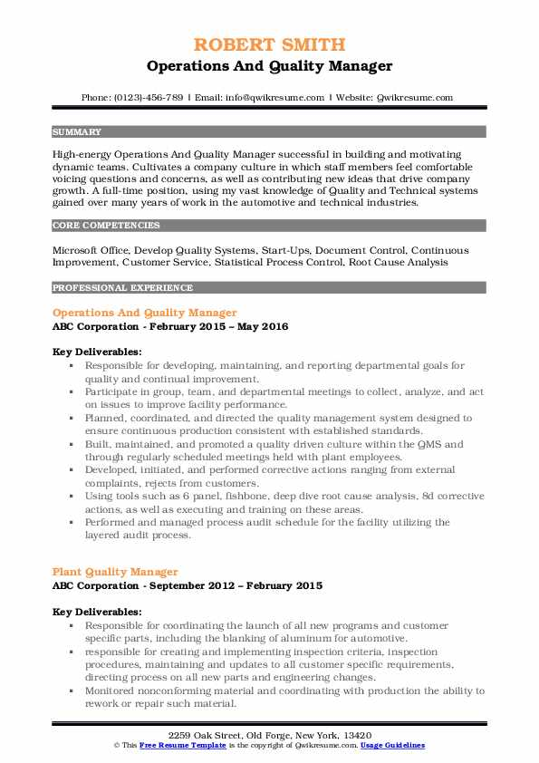 Operations And Quality Manager Resume Template