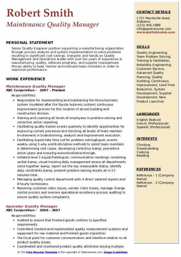 Maintenance Quality Manager Resume Format