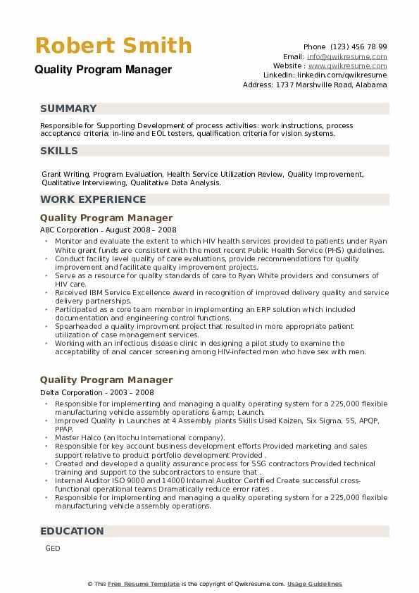 Quality Program Manager Resume example