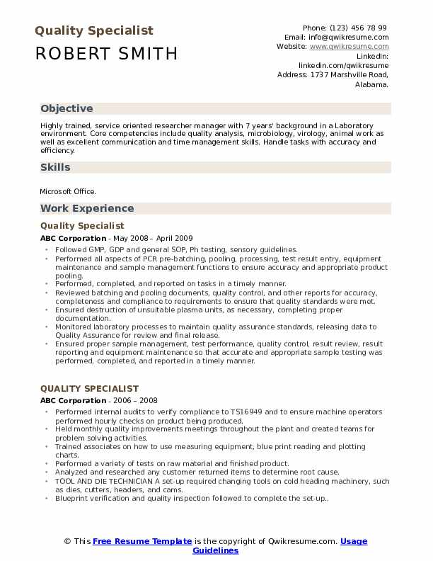 Quality Specialist Resume Format
