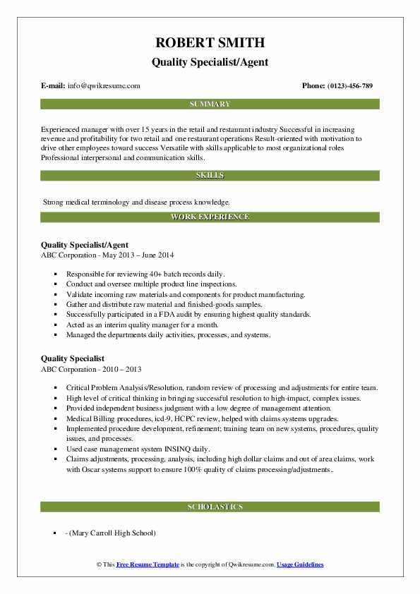Quality Specialist/Agent Resume Example