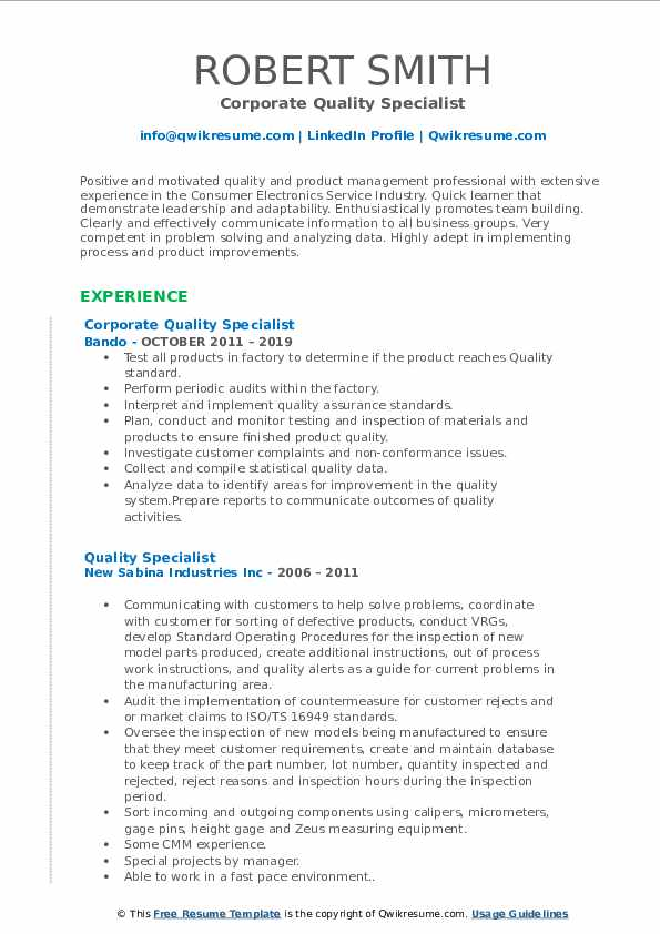 Corporate Quality Specialist Resume Example