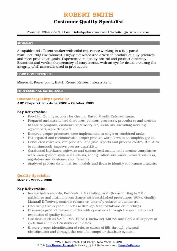 Customer Quality Specialist Resume Model