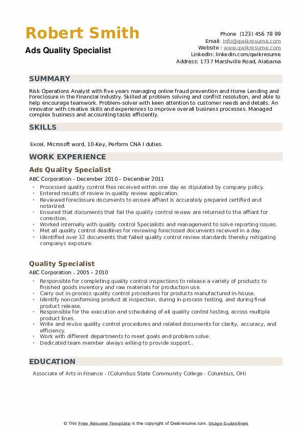 Ads Quality Specialist Resume Example