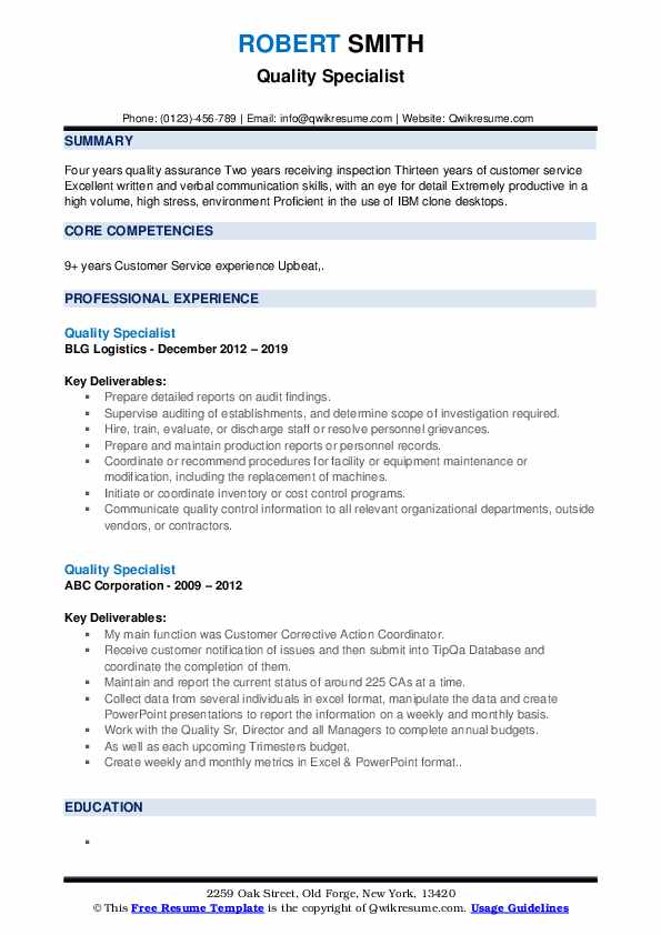 Quality Specialist Resume example