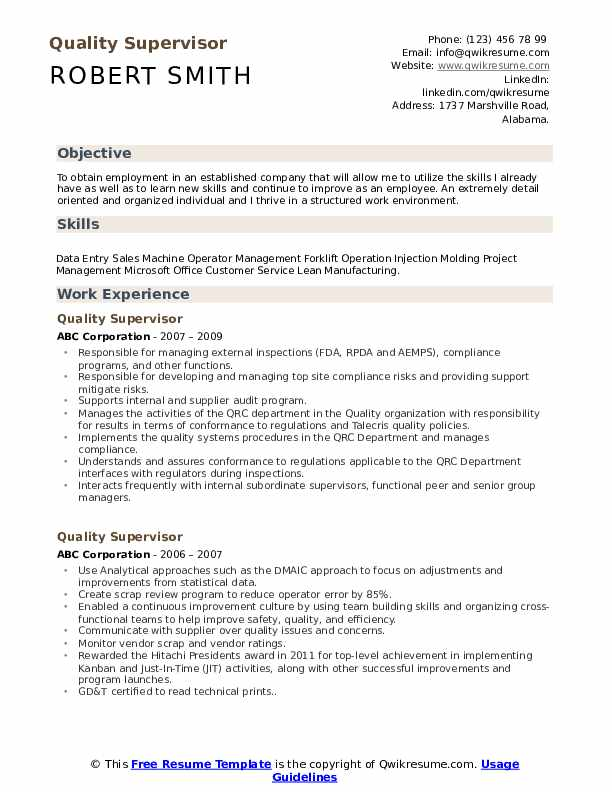 Quality Supervisor Resume Sample