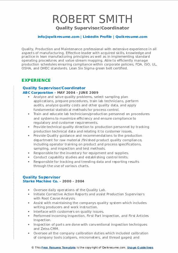 Quality Supervisor/Coordinator Resume Model