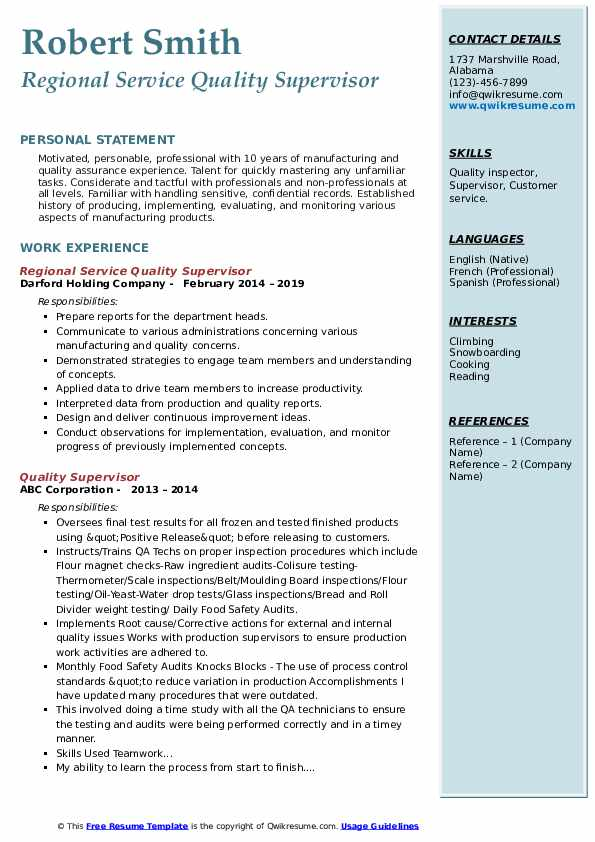 Regional Service Quality Supervisor Resume Sample