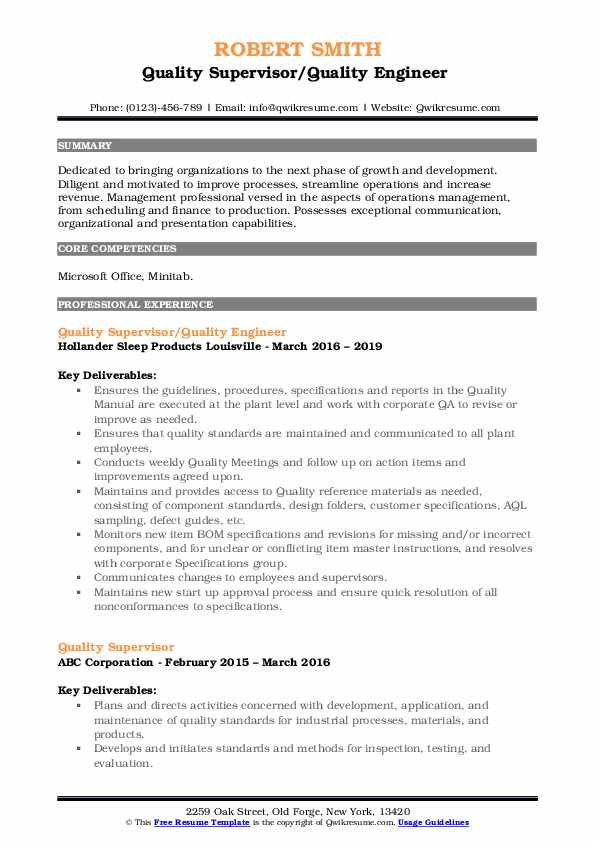 Quality Supervisor/Quality Engineer  Resume Format
